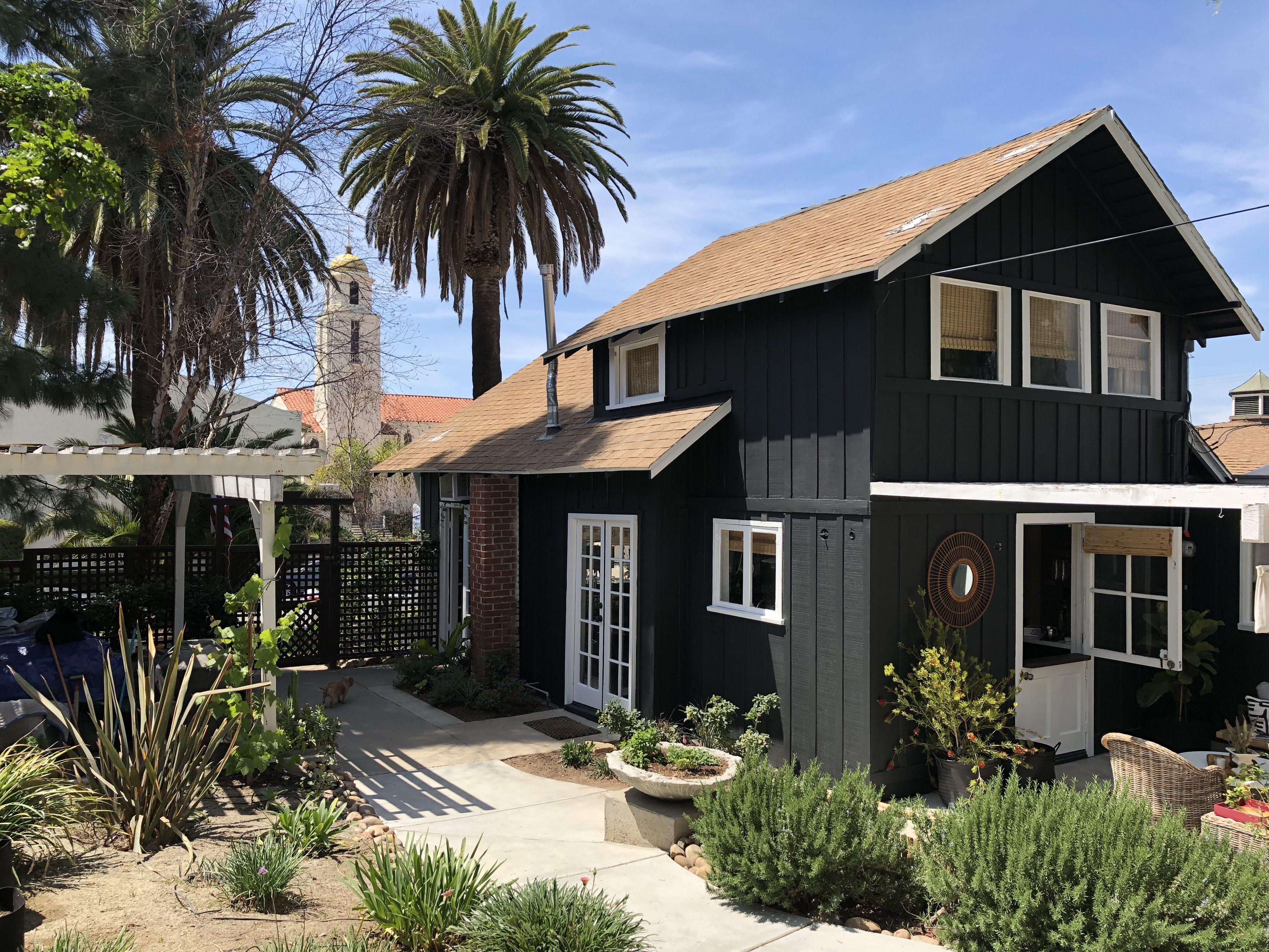 Our Black House Love La Mesa Ca Sw Greenblack Sw Pure White House Cladding Black House Exterior Exterior House Colors