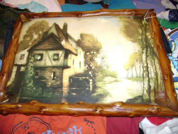 Free S&H Old World Wood Vintage Handmade Picture by Epiphanies2