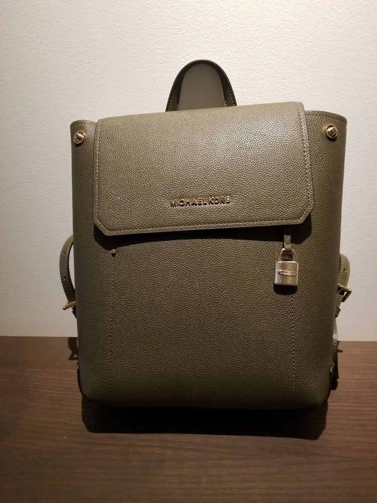 93b8cc3d2e42 NWT MICHAEL KORS HAYES MD LEATHER BACKPACK in OLIVE/BALLET #fashion  #clothing #shoes #accessories #womensbagshandbags ...