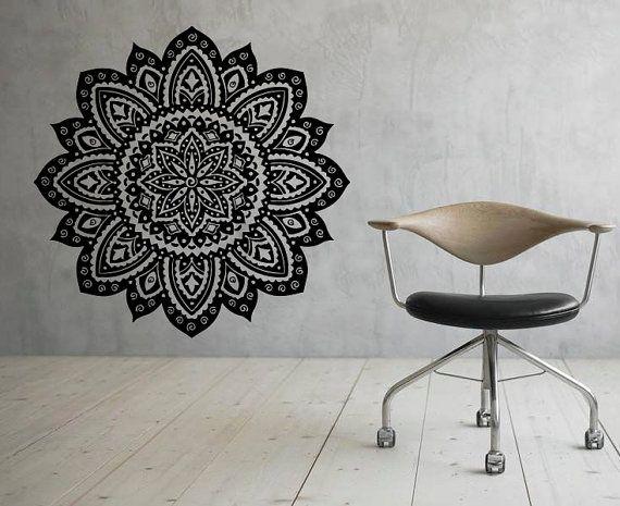 Mandala Mural Autocollant Fleur Mandala Vinyle Autocollant Indien