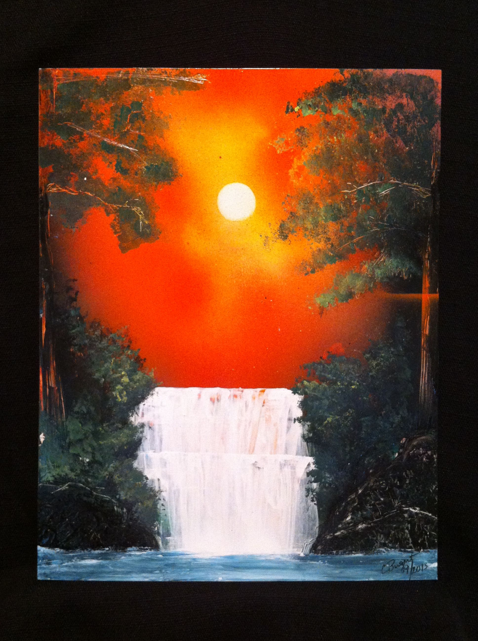spray paint art sunset waterfall art inspiration. Black Bedroom Furniture Sets. Home Design Ideas