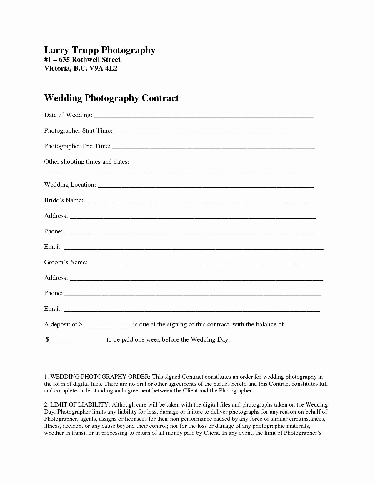Free Wedding Photography Contract Template Fresh Graphy