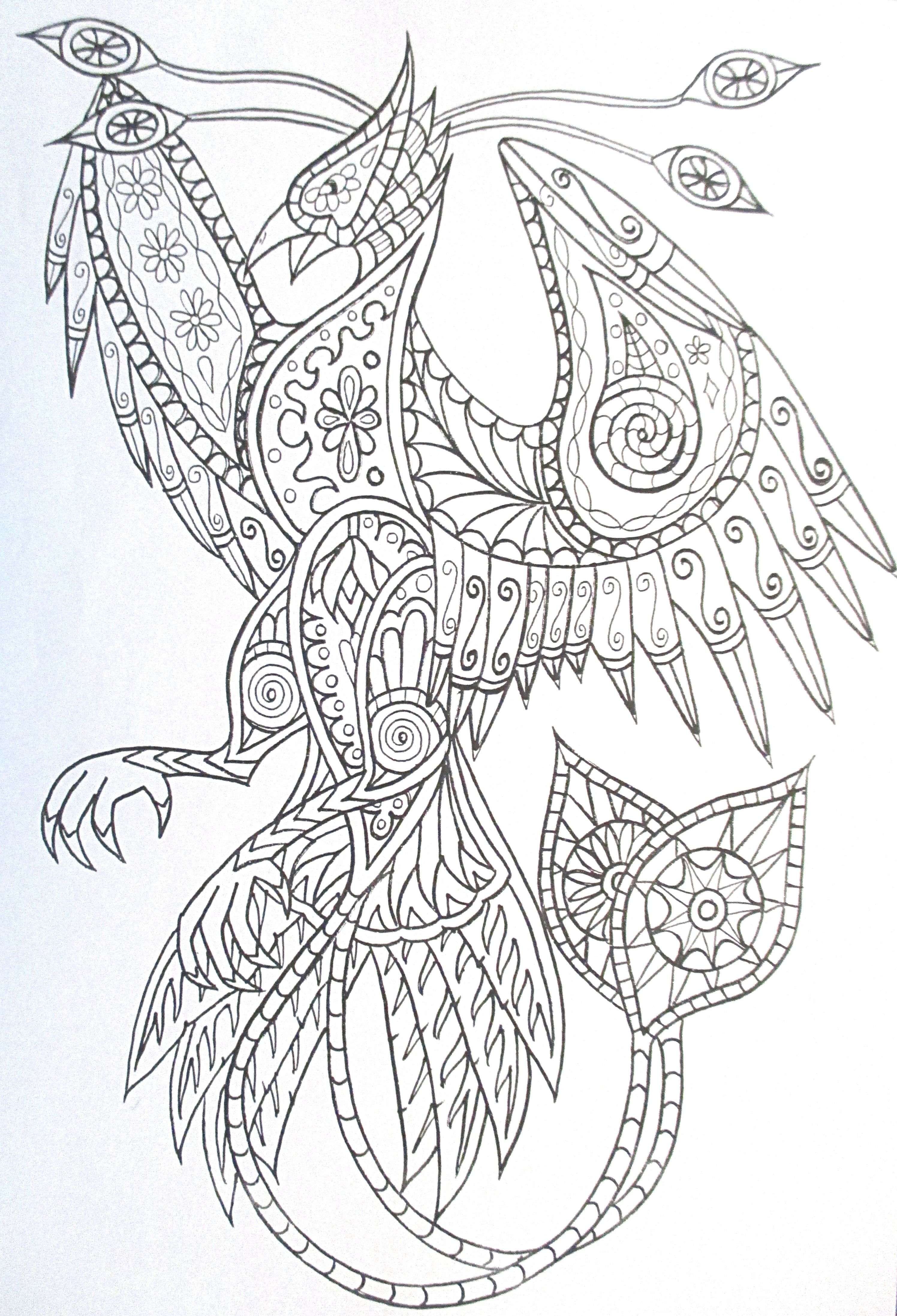 Adult coloring pages for stress relief - Steampunk Phoenix Coloring Page Printable Adult Kleuren Voor Volwassenen F Rbung F R Erwachsene Coloriage Pour Adultes Colorare