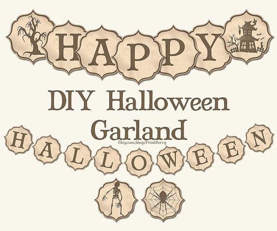 Halloween banner Printable Halloween party by PrintBerry on Etsy - print halloween decorations