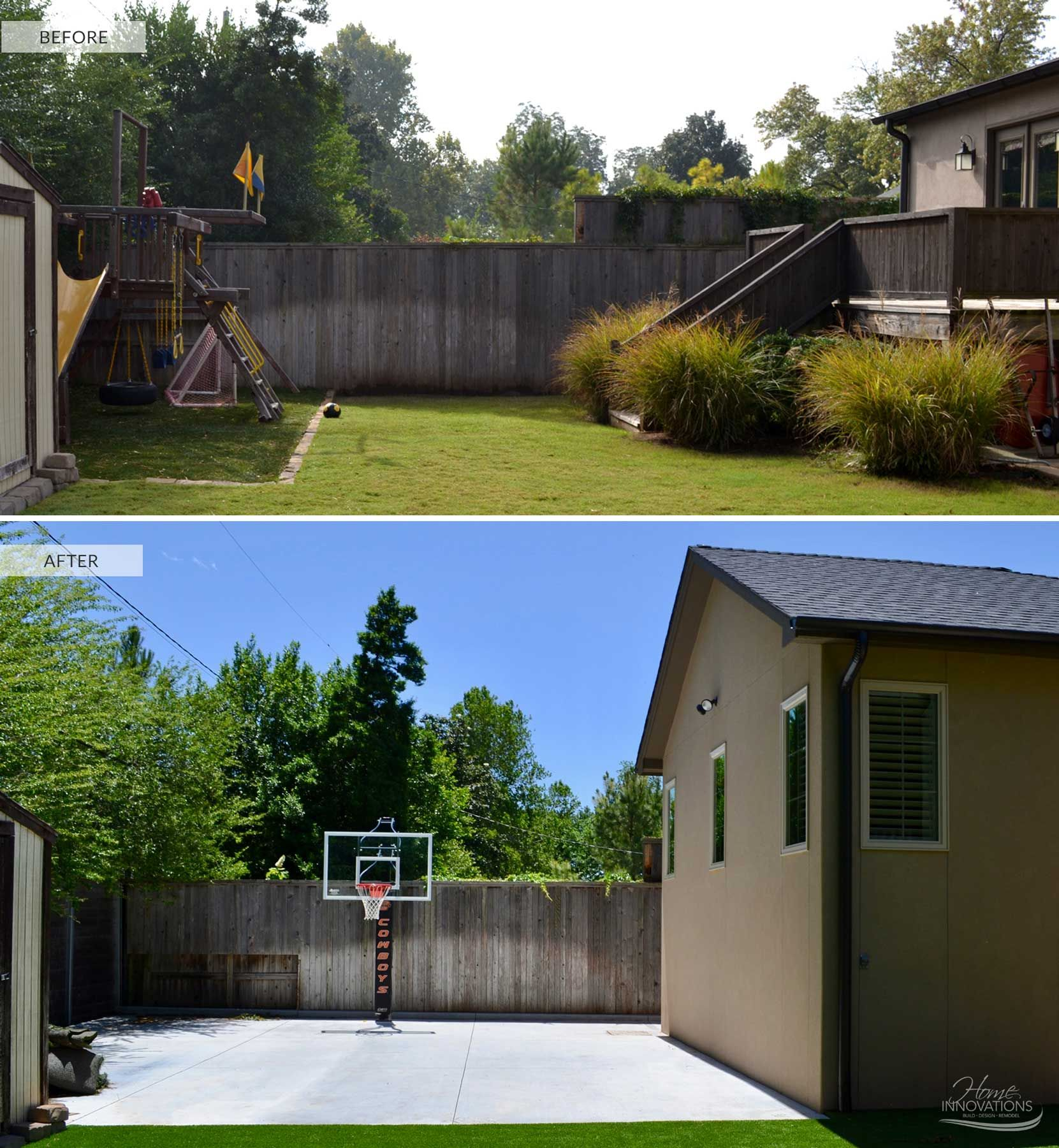 Before & After  Backyard With Pool, Stamped Concrete Patio,