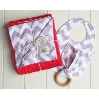 Grey and Red Chevron Baby Gift Set www.mamadoo.com.au #mamadoo #babyblankets