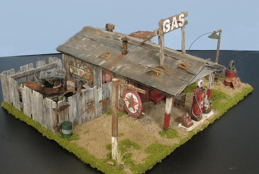 Vintage Gas Station 1 48 Scale Diorama Ho Scale Buildings Model Train Scenery Model Trains