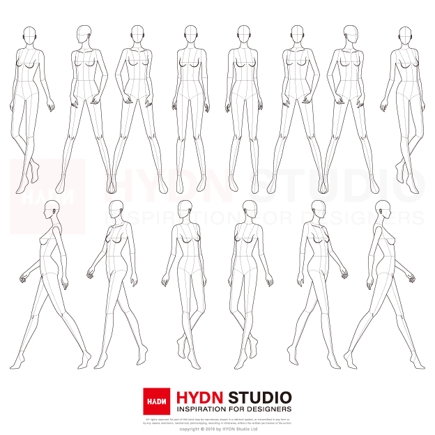 Photo of Fashion Figure, Fashion Pose Template (9Head) vol_03 : Fashion flats, Fashion Illustration, Fashion template | HYDNSTUDIO Fashion Design