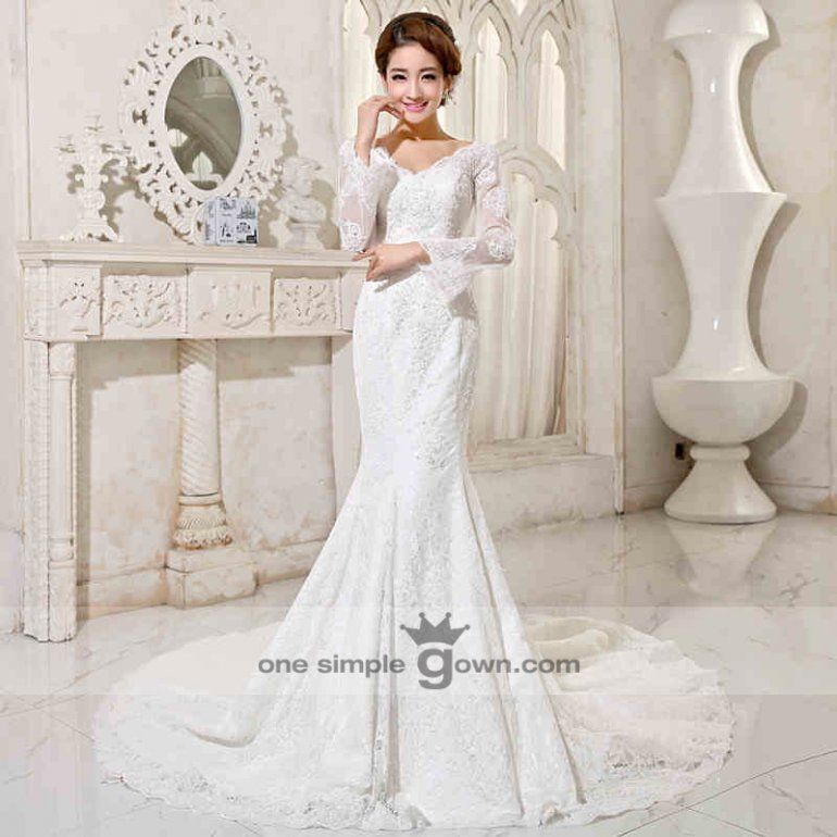 Malay Modern Reception Dresses long sleeve v neck lace embroidery ...