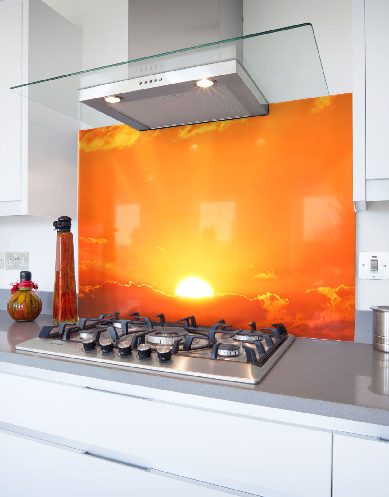Bright Orange Sunrise Printed Glass Hob Splashback Hob