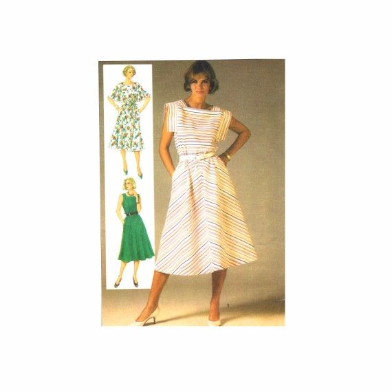 1980s Misses Dress with Bias Skirt Simplicity 6793 Vintage Sewing ...