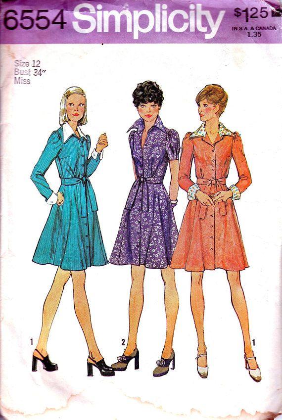 1970s Dress Sewing Pattern Short Skirt Shirt Dress Gored Skirt 70s ...