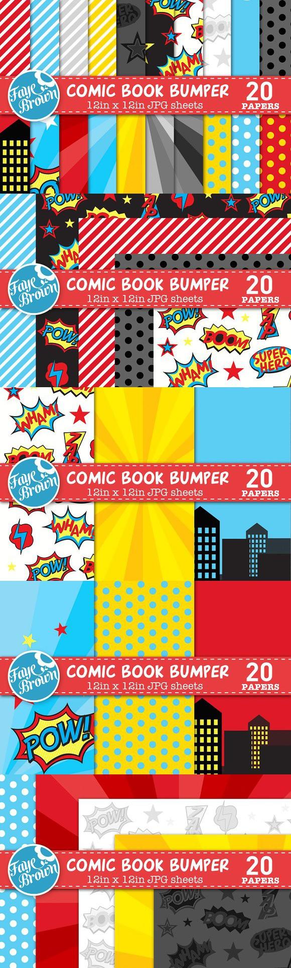 Scrapbook paper books - Comic Book Digital Scrapbook Paper