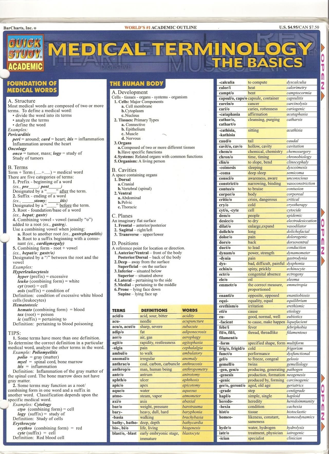 Medical Terminology Page 1 | Homeschool | Medical