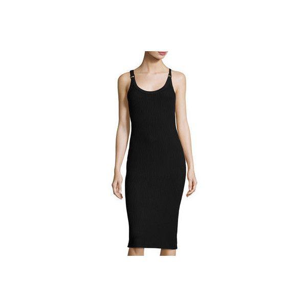 Michael Michael Kors Sleeveless Ribbed Sheath Dress w/ Logo Rings (£77) ❤ liked on Polyvore featuring dresses, black, slim fit dress, logo dress, sheath dress, slimming dresses and sleeveless dress