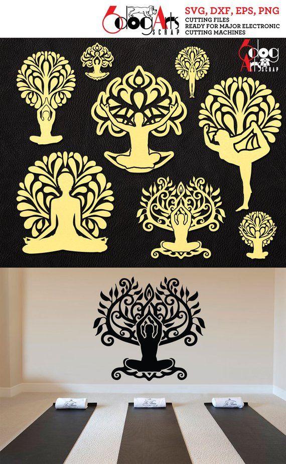 Yoga Tree of Life Logos Vector Digital Cut Files SVG DXF Download