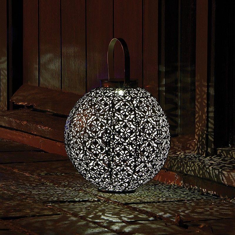 Damasque Outdoor Solar Lantern - Antique Bronze - Lighting Direct - solarleuchten garten antik
