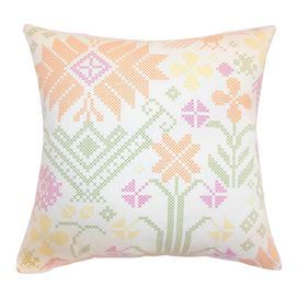 "Cotton throw pillow with a needlepoint-inspired motif and down fill. Made in the USA.   Product: PillowConstruction Material: Cotton and down fillColor: SummerFeatures: Insert included Made in the USAHidden zipper closure Dimensions: 18"" x 18""Cleaning and Care: Dry cleaning recommended"