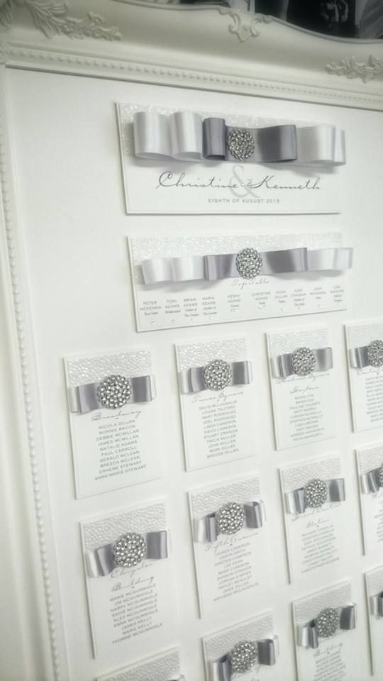 Framed Wedding Table Plan, Diamante Jewel, Silver white, statement ...