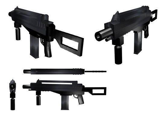 HLW assault rifle (concept art)  Copyright Iain Bruce 2013  Modelled, textured and rendered in Blender