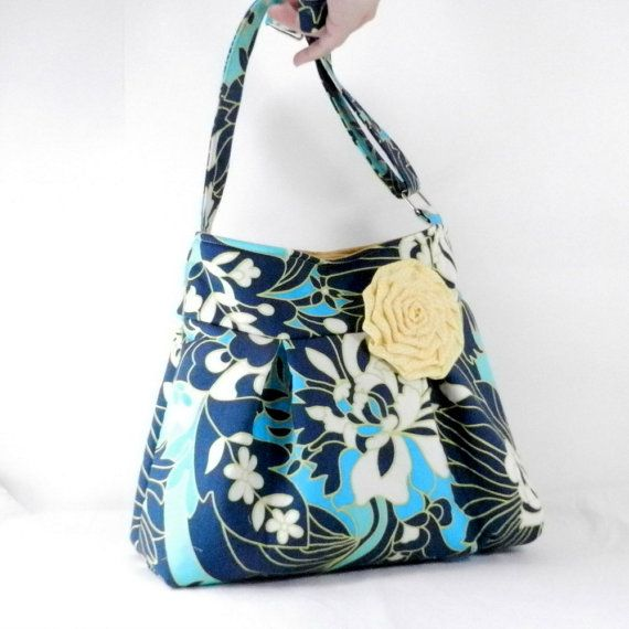 Pleated Purse Blue And White Amy Butler Daisy Chain Crossbody Bag