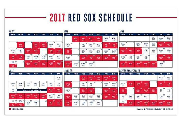 picture regarding Printable Red Sox Schedule referred to as 2017 Printable Timetable  Favored Areas Areas
