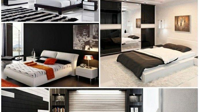 Komplettes Schlafzimmer in Schwarz-Weiß | Schlafzimmer | Pinterest ...