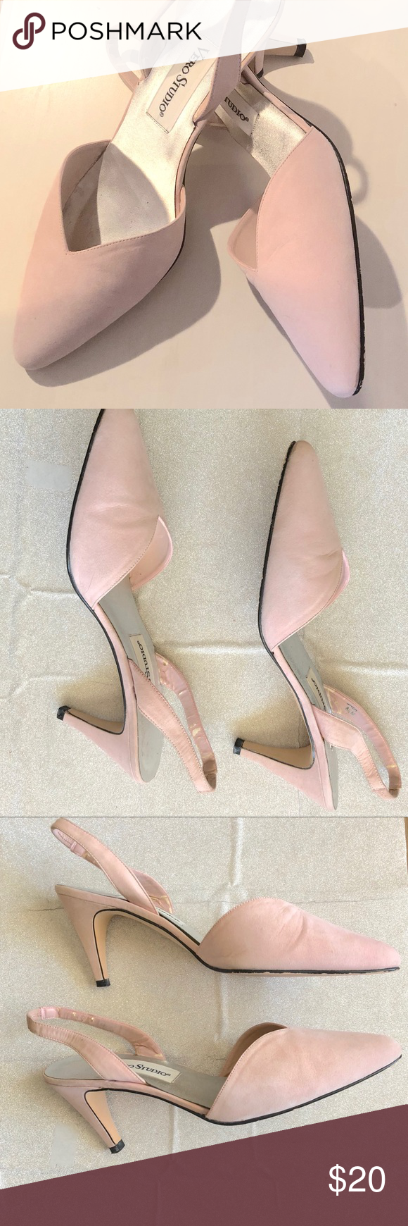 Suede Sling Backs With Kitten Heel Euc Suede Sling Backs With Kitten Heel Color Is A Very Pale Pink No Marks Stains Tears Or R My Posh Closet Kitte