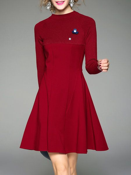 Shop Midi Dresses - Wine Red A-line Plain Stand Collar Girly Midi Dress online. Discover unique designers fashion at StyleWe.com.
