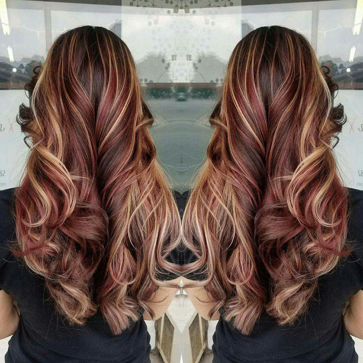 Red Hair Brown Hair Blonde Highlights Burgundy Hair Color Fall