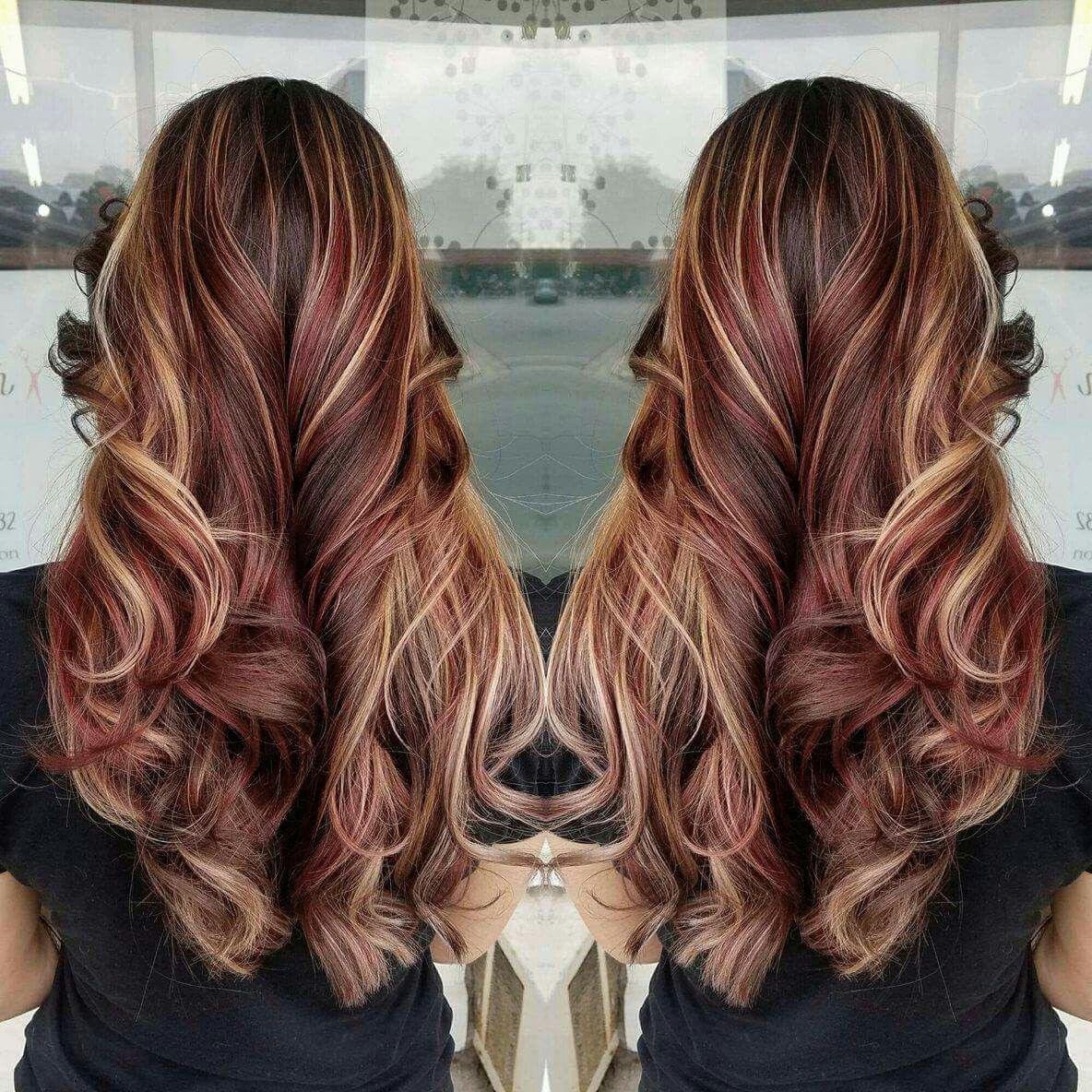red hair brown blonde highlights