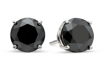 1 Round Brilliant Cut Treated Black Diamond Stud Earring In Gold