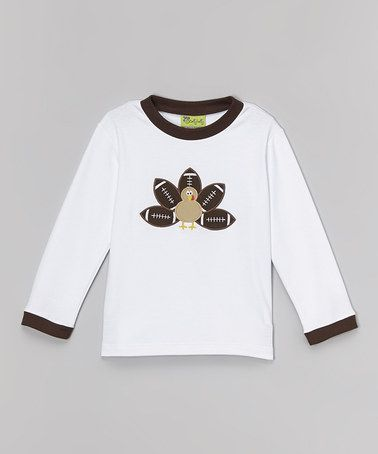 This White Football Turkey Tee - Infant, Toddler & Boys by Stellybelly is perfect! #zulilyfinds