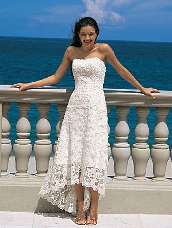 Simple Strapless Lace Satin High Low A Line Beach Destination Wedding Dress