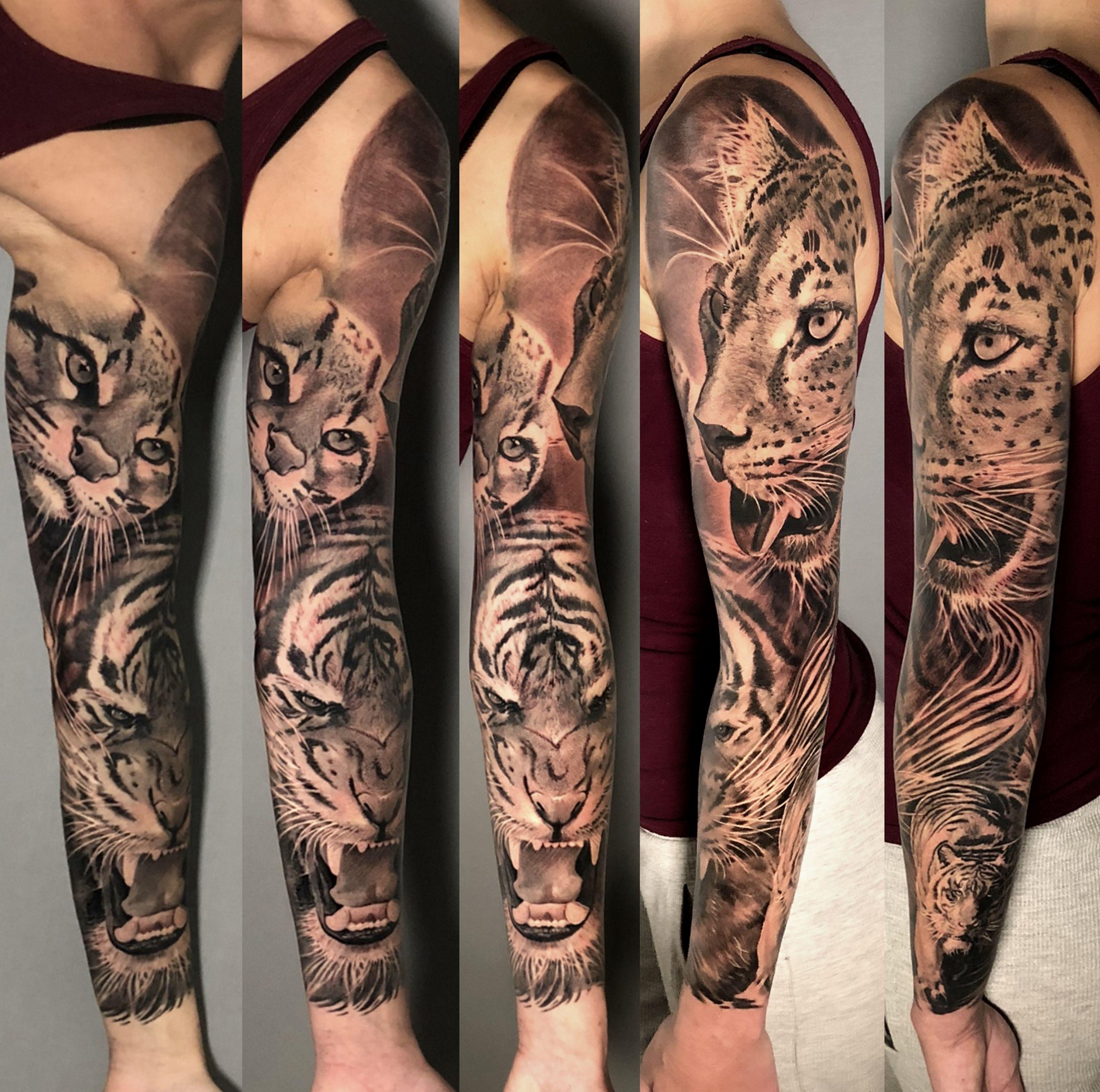 Feline Sleeve Half Healed Leopardovye Tatu Seraya Tatuirovka Tatuirovki Rukava