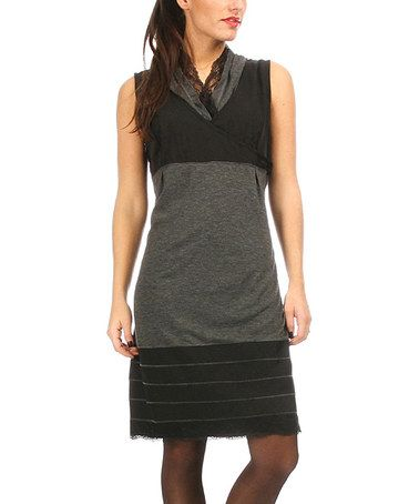 Another great find on #zulily! Black & Anthracite Lace-Trim Surplice Dress by L33 by Virginie&Moi #zulilyfinds