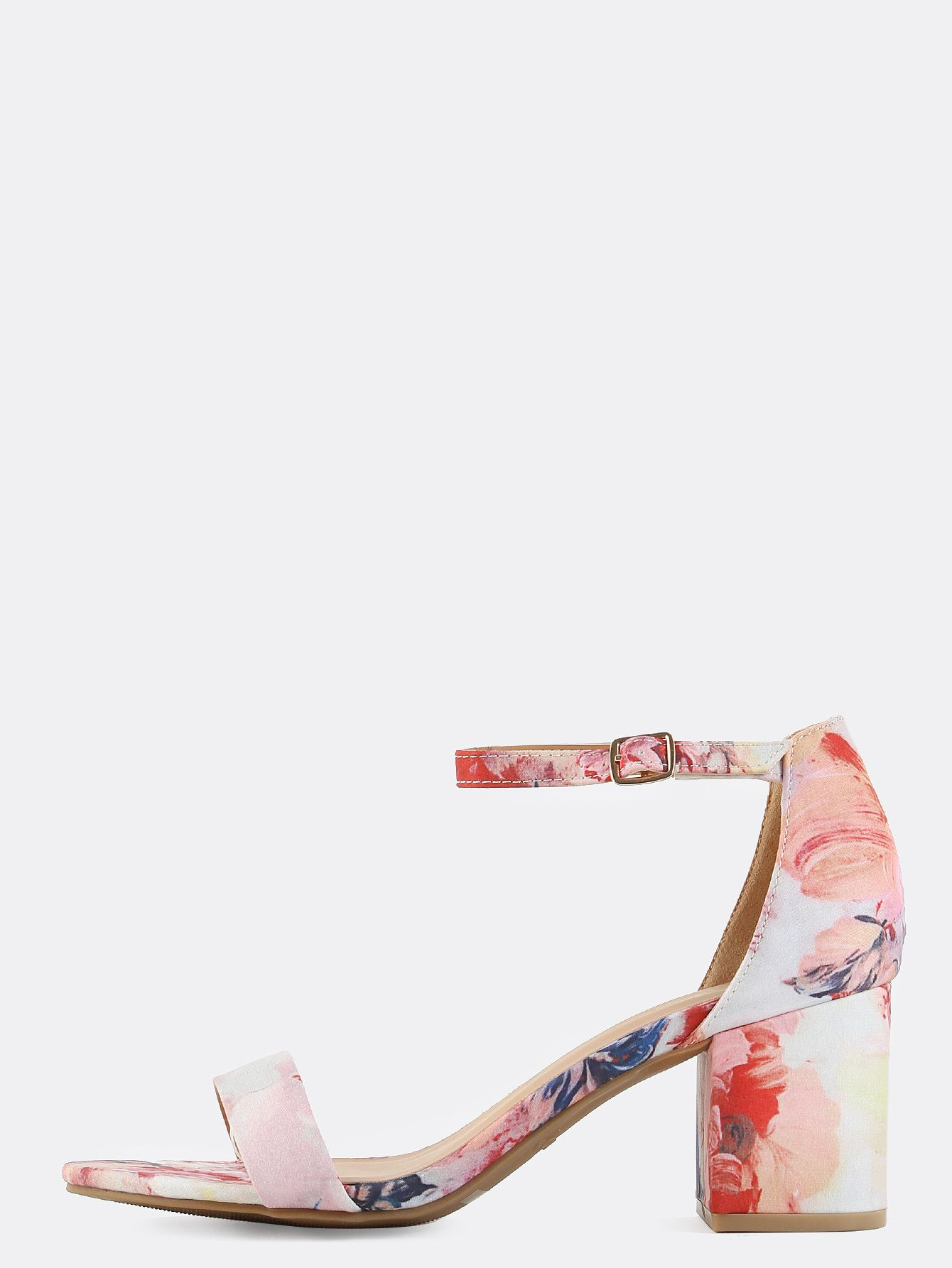 4e2c141debc03 Stay sweet and lovely with these Pastel Floral Block Heels! Features an  open toe, floral fabric upper, and an adjustable ankle strap.