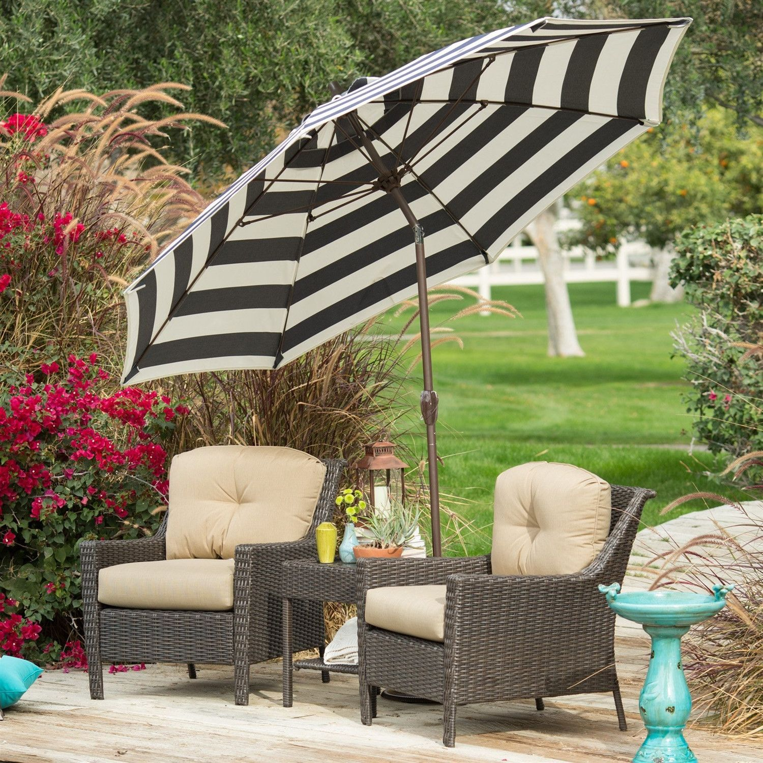 7.5 Ft Patio Umbrella With Dark Navy And White Stripe Outdoor Fabric Canopy  And Metal Pole