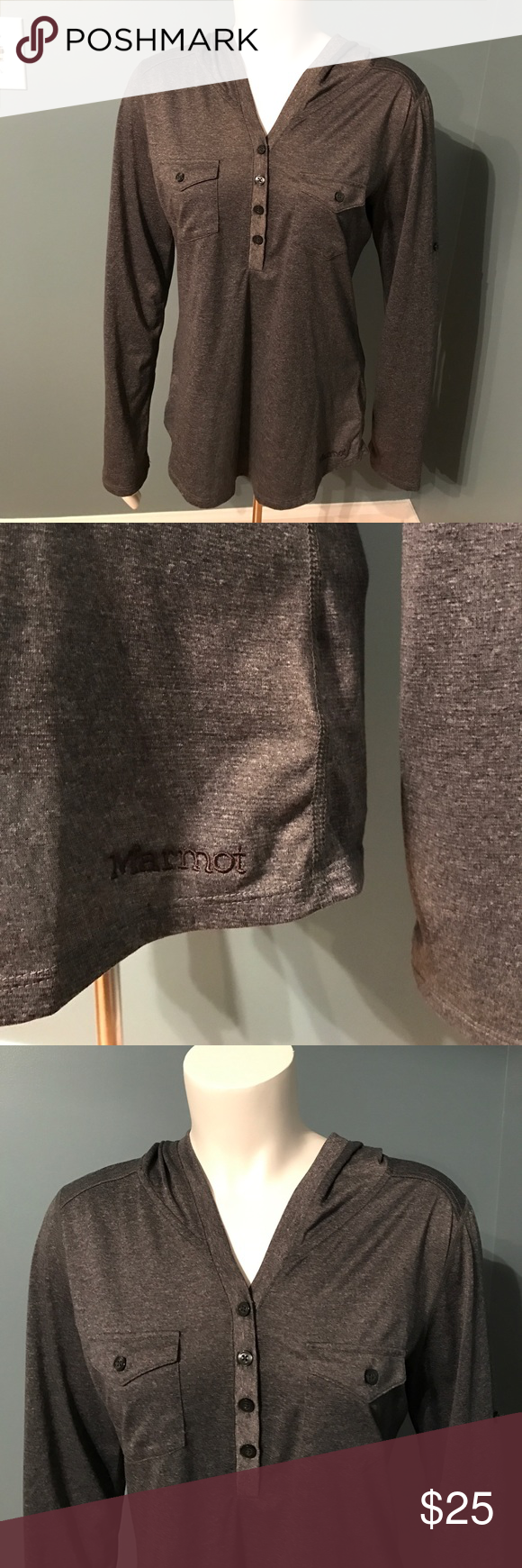 Marmot Laura long sleeve hooded gray shirt medium Lightweight and soft. Perfect for outdoor activities when you want coverage. Size medium. Charcoal gray. Pockets on both sides of chest. Button front. Sleeves roll up and secure with button closure Marmot Tops Tees - Long Sleeve