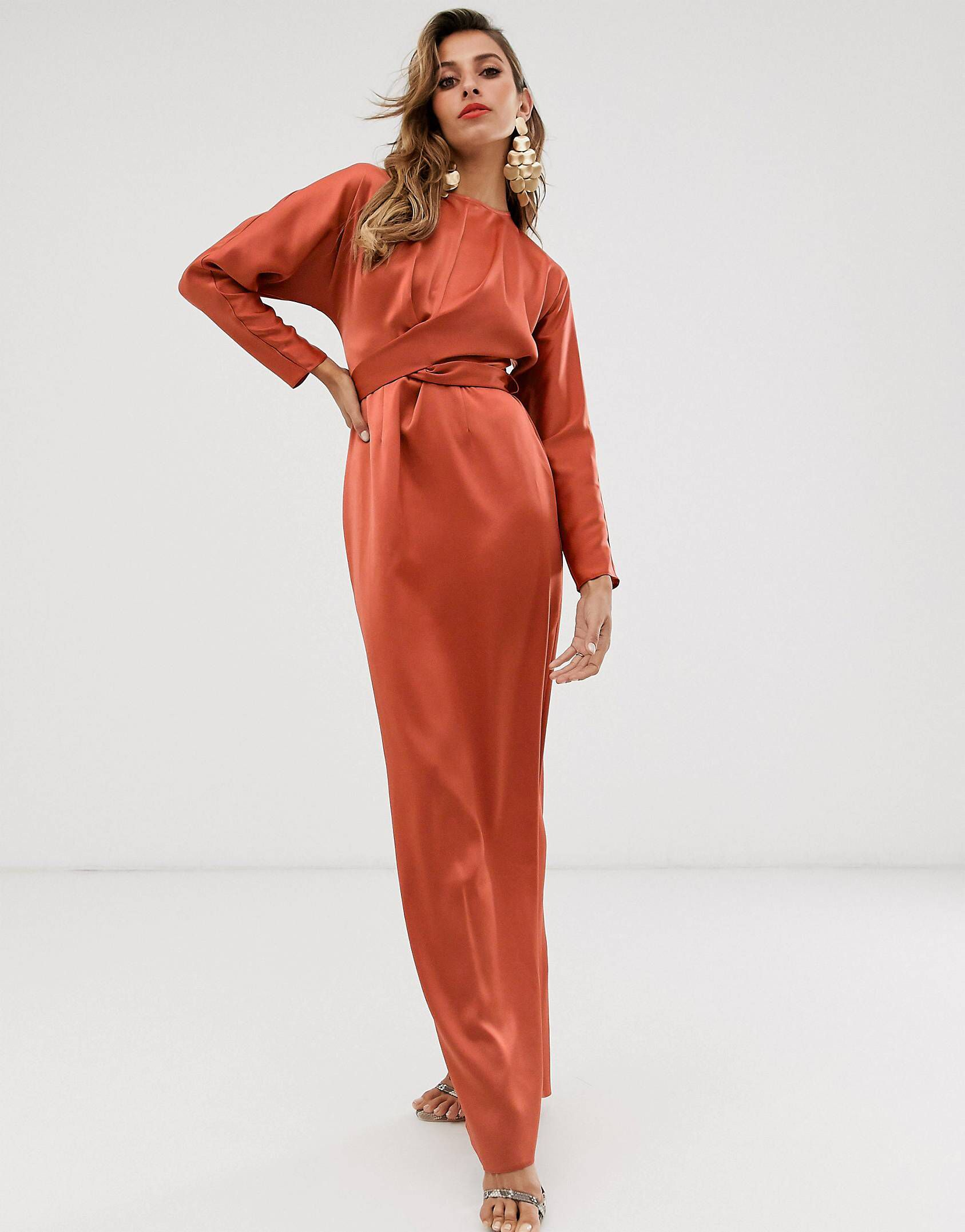 Photo of ASOS DESIGN maxi dress with batwing sleeve and wrap waist in sati