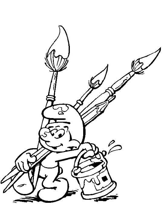 Clumsy The Smurf Want To Paint Coloring Pages - The Smurf Coloring ...