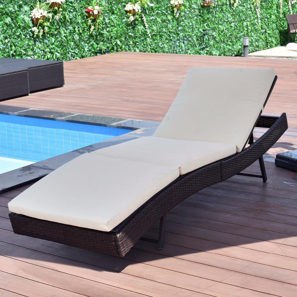 Outdoor Portable Adjustable Patio Sun Bed Pool Wicker Lounge Chair