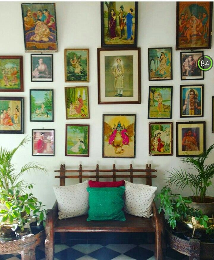 An entire picture wall of raja ravi varma lithographs adds undying ethnic appeal to this simple setting also bhuvana sharma bhuvanasharma on pinterest rh