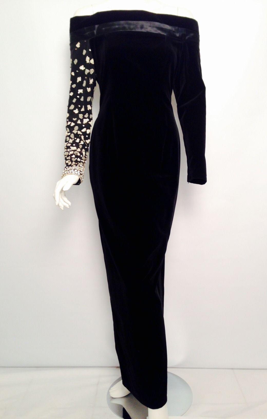 Vintage embroidered gianni versace long sleeve black velvet sheath