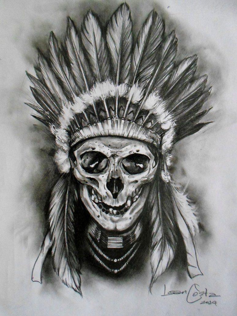 Pin By Fernando Mattos On The Dead West Skull Sleeve Tattoos Skull Tattoo Design Indian Skull Tattoos