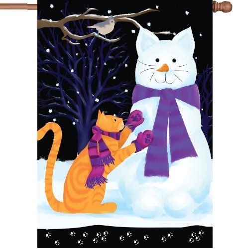 Snow Cat Decorative Flags Outdoor Flag Decor Kite Designs