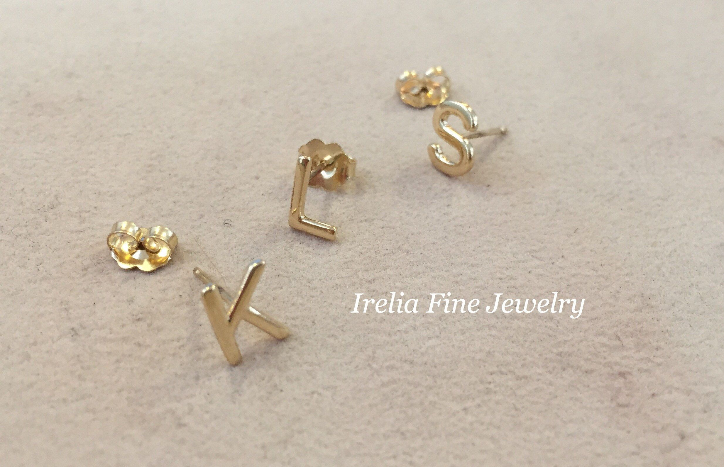 14k Gold Letter Pick Your Initial Single Stud Earring