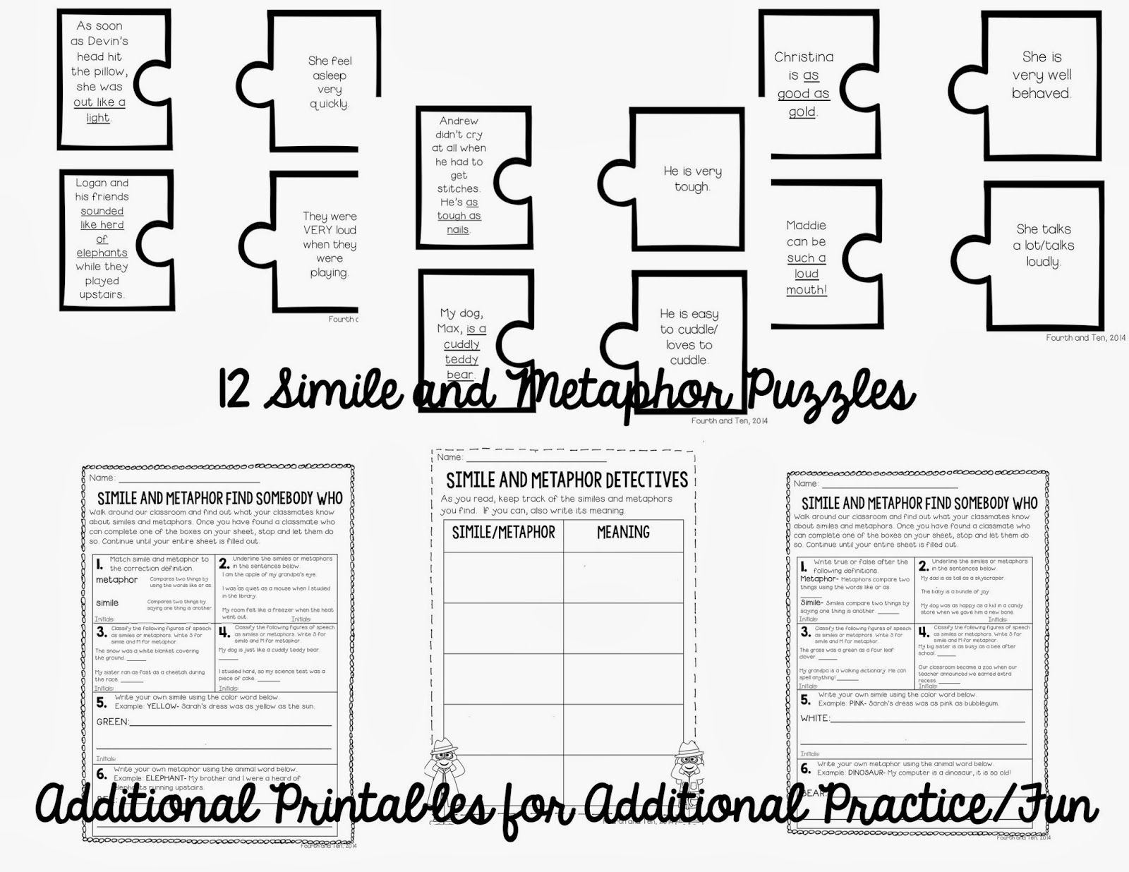 Fourth and Ten: Similes and Metaphor Activities on Tpt and