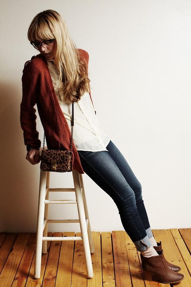 Shop this look on Kaleidoscope (cardigan, jeans, bootie, purse)  http://kalei.do/Wbj0daY9NAqJomHk