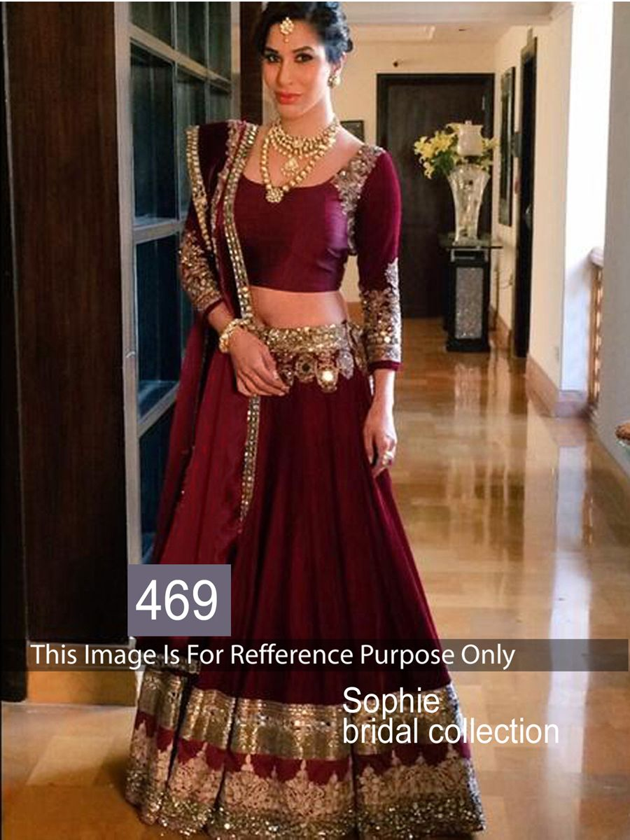 826cb10579 Ravishing attire to enhance your beauty. This Sophie Chaudhary maroon micra  velvet bollywood lehenga choli